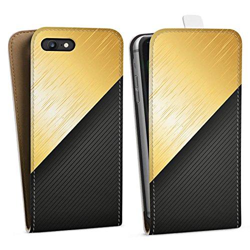 Apple iPhone X Silikon Hülle Case Schutzhülle Metall Look Schwarz Gold Downflip Tasche weiß