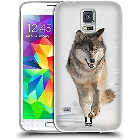 Head Case Designs Lupo Grigio Che Corre Animali Selvatici Back Case Cover in Silicone per Samsung Galaxy S5