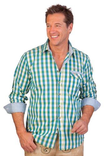 Spieth & Wensky H1341 - Trachtenhemd Krempelarm - RAUBACH - SLIM - rot, azurblau, lachs, Größe 45/46