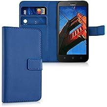 kwmobile Custodia portafoglio per Huawei Y625 - Cover a libro in simil pelle Flip Case con porta carte funzione appoggio blu scuro