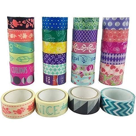 AUFODARA 10 Rotoli Washi Tape Nastro adesivo decorativo (Tessuto Nastro Adesivo)