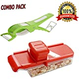 KNOWTEQ Dry Fruit, Fruit/Vegetable Slicer With Holder & Container And Multipurpose 2 In 1 Vegetable Cutter Cum Laser Peeler Blade - Pack Of 2