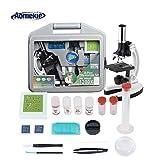 Aomekie Microscopio per Bambini 300X-600X-1200X per Ingrandimento con LED Luci Scienza Microscopio per presto Bambino Educazione Come regalo di Natale