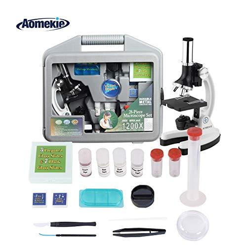 Aomekie Mikroskop für Kinder Experimentierkasten ab 8 Jahre 300X-600X-1200X Vergrößerung mit Koffer und Zubehör