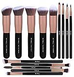 Juego de 14 pinceles de maquillaje para base de maquillaje sintética, correctores de polvo, sombras de ojos, color plateado y negro (rosa dorada)