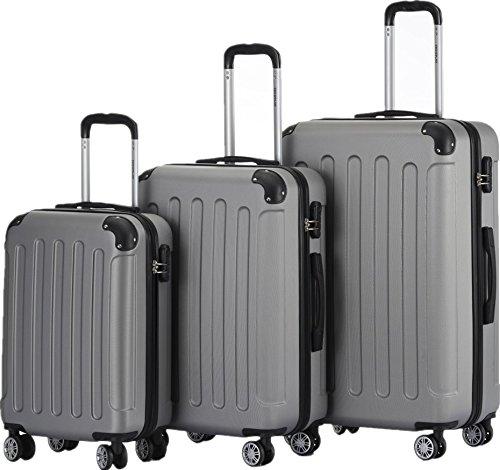 BEIBYE 2045 Hartschale Koffer Kofferset Trolley Reisekoffer Größe XL-L-M in 12 Farben (Silber, Set)