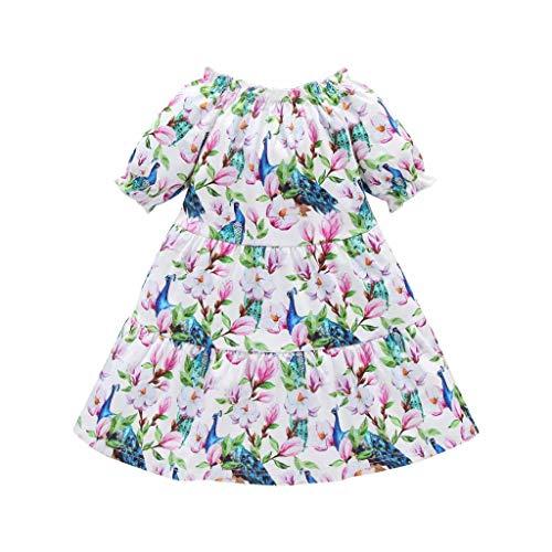 Kinder Baby Mädchen Outfits Kleidung Floral Kurzarm Party Prinzessin Kleid (Weiß,120) ()
