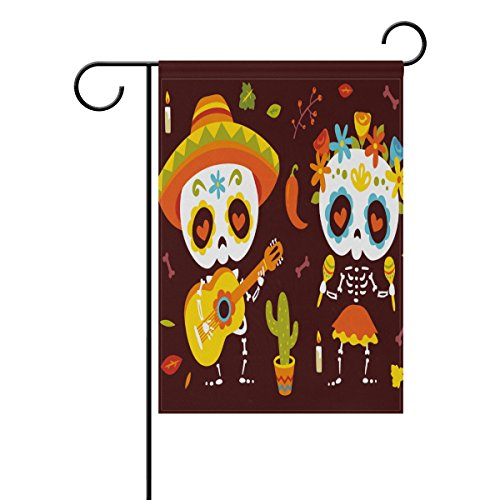 vinlin Sugar Skull-Seiten -, Deko, Garten, Garten- und home- mit Flagge, Polyester, 12x18(in)