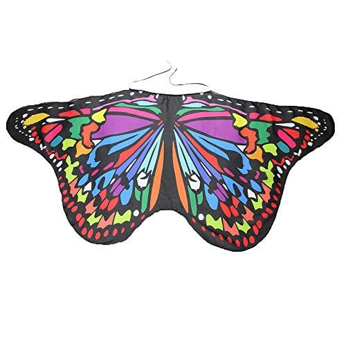 YWLINK Eltern Kind Chiffon Klassisch Karneval Bohemien Schmetterling Print Schal Jungen MäDchen Cosplay ZubehöR Erwachsener Weihnachten Halloween FlüGel Umhang Bunt Pashmina(Größe:147 * 68CM,KindB)