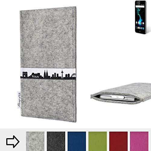 flat.design für Allview P6 Pro Schutz Hülle Handytasche Skyline mit Webband Köln - Maßanfertigung der Schutztasche Handycase aus 100% Wollfilz (hellgrau) für Allview P6 Pro