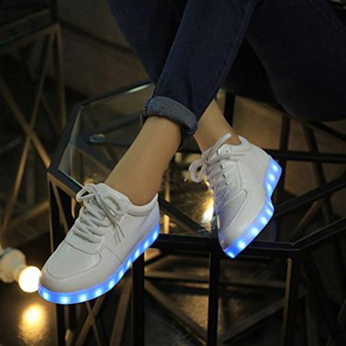 [Présents:petite serviette]JUNGLEST® 7 Couleur Mode Unisexe Homme Femme USB Charge LED Lumière Lumineux Clignotants Chaussures de ma c4