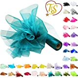 TtS 29cm X 26M Organza Roll Sash Fabric Table Runner Sashes Chair Cover Bows Swags for Wedding Party - Turquoise