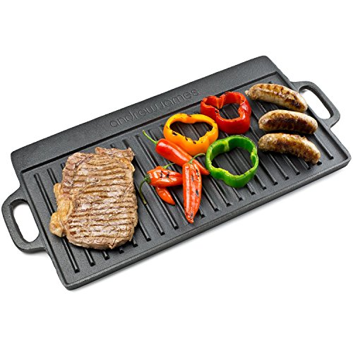 Andrew James Non Stick Cast Iron Reversible Griddle Pan Ideal for BBQ and Outdoor Cooking