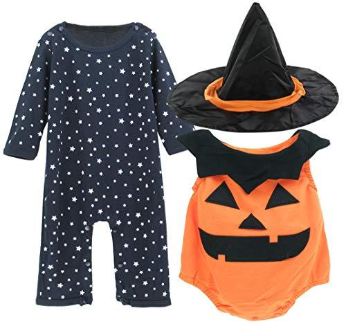 Mombebe Kürbis Kostüm Baby Strampler Halloween Overall mit Hut (6-12 Monate, Kürbis) (Coole Schnelle Und Einfache Halloween Kostüme)