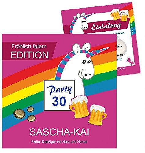 90 Einladungen zum Geburtstag, Motiv Einhorn, für jedes Alter möglich, lustig witzig 18 20 25 30 40 Text ändern, quadratisch 14,5 x 14,5 cm
