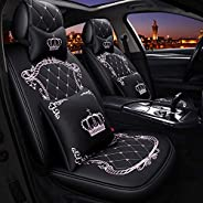Xuxiaojuanye Fit Full Set Flat Cloth Leather Car Seat Cover, Durable Crown Seat Cover Combo Set with Steering