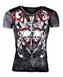 Kingz T-Shirt - Skulls - Totenköpfe - mit Strass Steinen - Roter Schriftzug - in schwarz oder weiß (XL, schwarz/Silber)