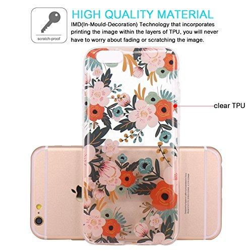 Coque iPhone 6, JIAXIUFEN TPU Coque pour Apple iPhone 6 6S Silicone Étui Housse Protecteur - White Flower Mandala Noble Colorful Blossom