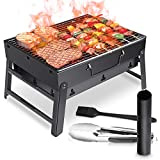 WOSTOO Charcoal Barbecue Portable Mini Pliable Charcoal Barbecue Barbecue Barbecue Charcoal Barbecue Barbecue Picnic Jardin Camping Party Beach Outdoor Noir