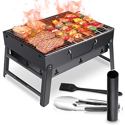 WOSTOO Charcoal Grill, Portable Mini Foldable Charcoal Grill Barbecue, BBQ Charcoal Barbecue Picnic Barbecue Garden Camping Party Beach Outdoor Barbecue - Black