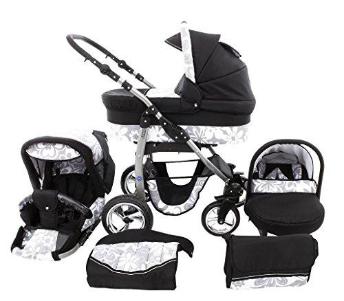 Trío Dino Cochecito 3 in 1 Silla de paseo + capazo + silla para coche + rutas giratorias 48 negro & flores grises