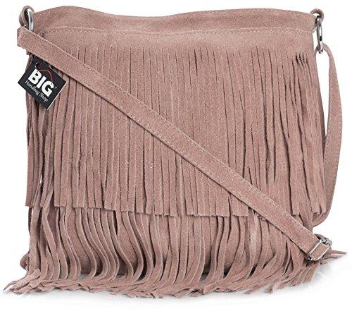 BHBS Bolso de Noche para Dama en Cuero Gamuzado con Flecos en el Frente 32x26 cm (LxA) Pale Pink