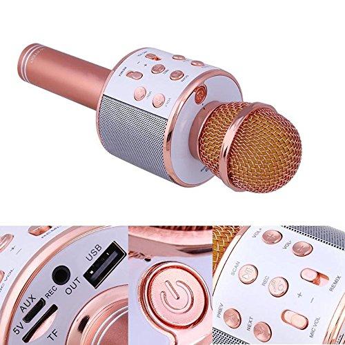 Mikrofon Lautsprecher Mobile Karaoke KTV Wireless Bluetooth Mikrofon,Rosegold
