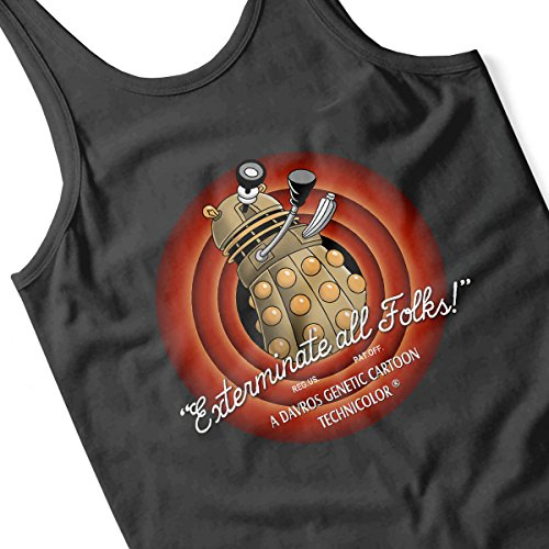Loony Toons Doctor Who Exterminate All Folks Men's Vest Black