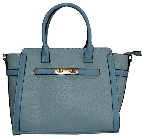 Kukubird Cadenza In Ecopelle Con Chiusura In Metallo Dettaglio Design Top-manico Spalla Tote Handbag Blue