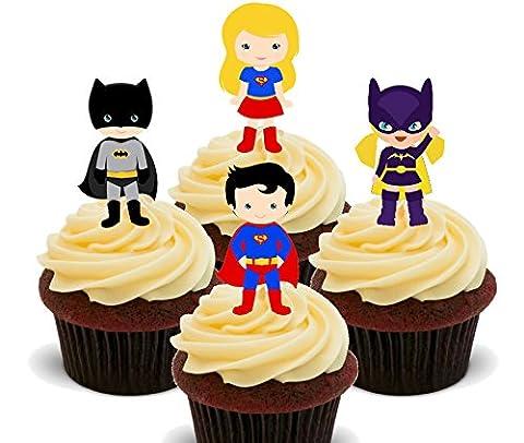 Super Héros garçons et filles–Décorations à gâteau comestibles pour cupcakes–Col Montant, Pack of