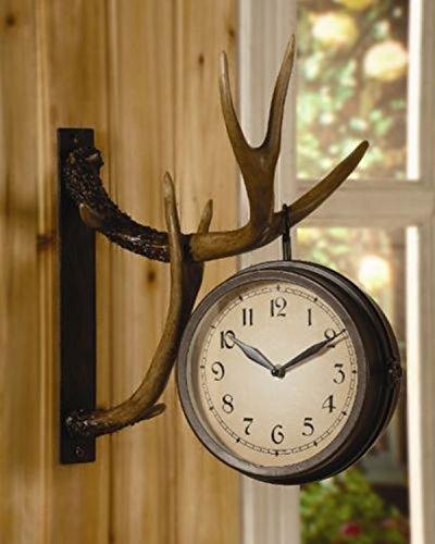 chsgjy Deer Park Antler Wanduhr zwei-seitige Metall rustikal Kabine Lodge Jagd Decor -