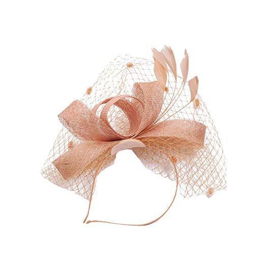 TEBAISE Damen Licht Haarreif Fascinator Aliceband Hochzeit Cocktail Haarschmuck Haarreif eleganter Fascinator mit Federn Blumen Kopfbedeckung Braut ()