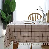 No brand Beige Grid Rectangular Dining Table Coffee Table Tablecloth 100 * 160cm / Beige grid