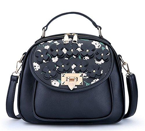 Xinmaoyuan Borse donna borsa a tracolla alla moda pacchetto femmina rotto deduzione fiore piccolo sacchetto quadrato Nero