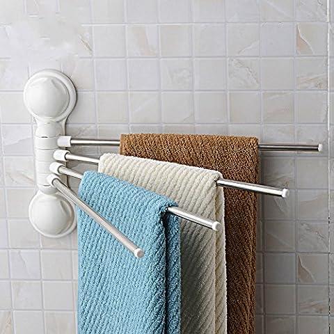 Porte-serviette, GETALL 4 Bars puissante ventouse d'aspiration crochet, rotation de 180 degrés inox salle de bain serviette Rack Hanger support organisateur (Porte-serviette)