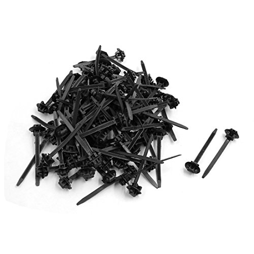sourcing map 100pcs Attaches câble nylon Zip Fixer emballage Plastique noir 70mmx5mm