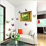 Walplus - Grande adesivo da parete 3D con farfalle, pianta rampicante e fiori