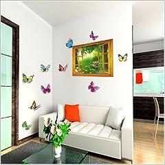 Idea Regalo - Walplus - Grande Adesivo da Parete 3D con Farfalle, pianta rampicante e Fiori