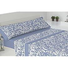 Todomueble-Pierre Cardin Amalfi - Juego de Sábanas para cama de 150, compuesto por bajera, encimera y funda de almohada, color Azul