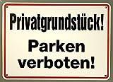 Qualitäts - Aluminium Schild Privatgrundstück Parken verboten 250x350 mm geprägtes Aluschild 0,6 mm Alu