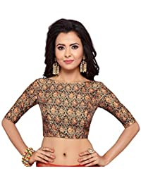 eb4de765b3861 STUDIO SHRINGAAR WOMEN S POLY RAW SILK BAGH PRINTED SAREE BLOUSE WITH BOAT  NECK