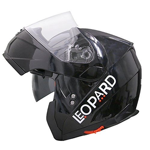 Leopard LEO-838 Cascos Modulares de Moto Motocicleta Doble Visera ECE 22-05 Aprobado - Negro L (59-60cm)