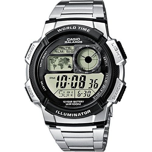 CASIO Collection AE-1000WD-1AVEF – Reloj de caballero de cuarzo, correa de acero inoxidable color plata