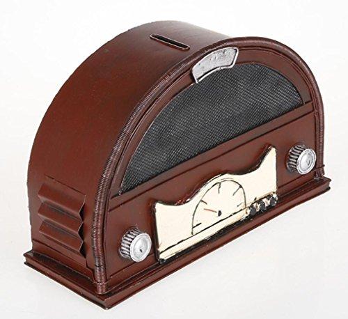 LD&P Iron Nostalgic Retro-Radio-Modell semi-circular, um die alten Radio-Ornamente kreative Spar-Topf-Sammlung zu Hause Handwerk Bar Dekorationen Fotografie Requisiten zu tun,A,27*11*18CM