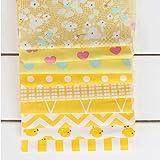KING DO WAY Baumwollstoff Patchwork Stoffe DIY, Quadrate Neues Gelb Baumwolltuch Stoffpaket, DIY kleine Tasche, Stoff Taschentuch verwendet werden Gelb 20x25cm