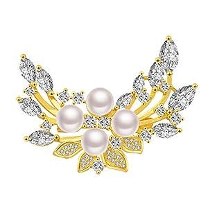 Frauen Broschen 18K Gold plattiert Blatt Brosche mit 5A Zirkonia Süßwasserperlen Brosche Pins Schnalle für Pullover Schal Mantel