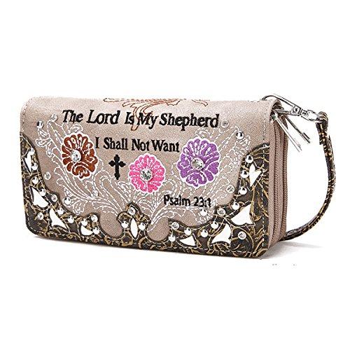 Borsette Donna Cowgirl Occidentale Versetto Bibbia Con Strisce Di Fiori Zip Around Portafoglio Turchese MARRONE