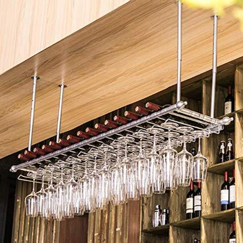 L.HPT Weinregal Lagerung, Wand Wein Glas Rack Champagner Glas Rack Wind Dekoration hängenden Regal Lagerregal Wohnkultur (Farbe: Silber, Größe: 60x30cm) (Rack Holz-wein-glas-wand)