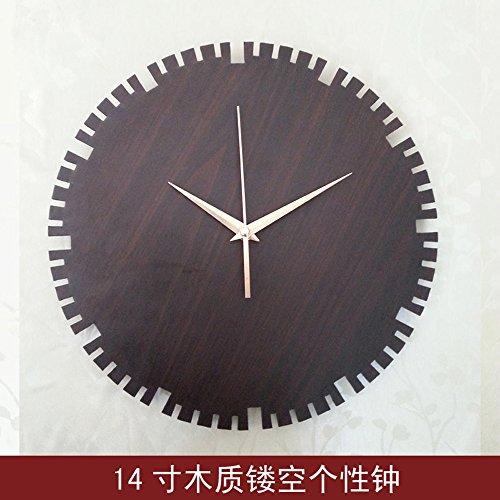 SL&HEY 14 pollici incisione su legno Jong-arti creative orologi da parete Orologio mute di disegno-hang del clock
