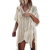 Bonboho Femme Robe de Plage Grande Taille Tunique Décontracté Col V Ciselé Bohême Bikini Cover Up Crochet Blouse Protection Solaire